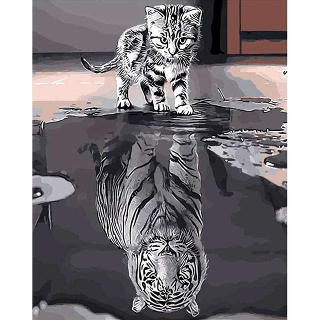 Dream Kitty I'll Grow.. Tiger - DIY Paint By Numbers Kit