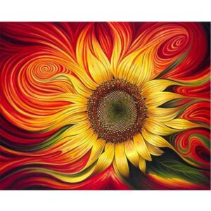 Fire Sunflower DIY Painting By Numbers Kits for Adults