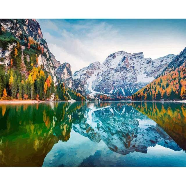 First Snow On Braies Lake - DIY Acrylic Drawing by Numbers Kit