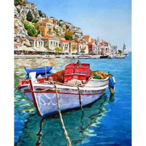 Fishing Boat off Greek Coast - Acrylic Paint by Numbers Kits
