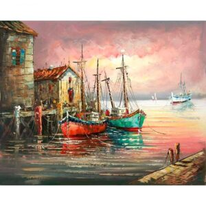 Fishing Sailing Boats in Dock DIY Digital Oil Paint by Number Kit for Adults