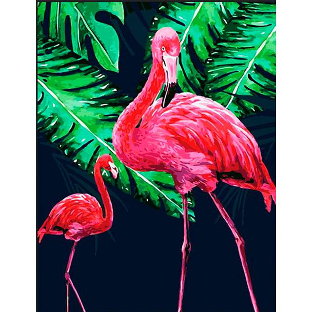 Flamingos in Jungle - DIY Canvas by Numbers Kit