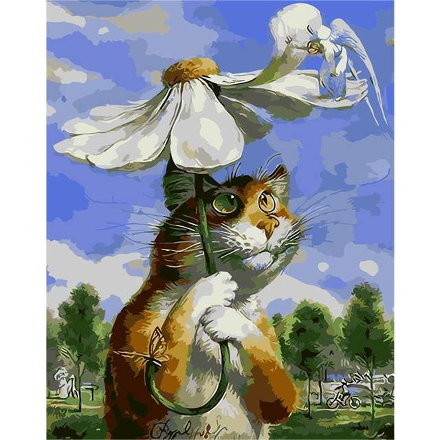 Fraidy Cat Under Daisy - Oil Paint by Number Kit