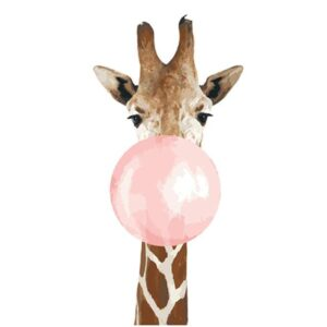 Funny Animals Giraffe with Pink Gum - Easy Paint by Numbers for Beginners