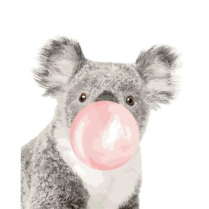 Funny Animals Koala with Pink Gum - Easy Painting by Numbers Kit for Beginner