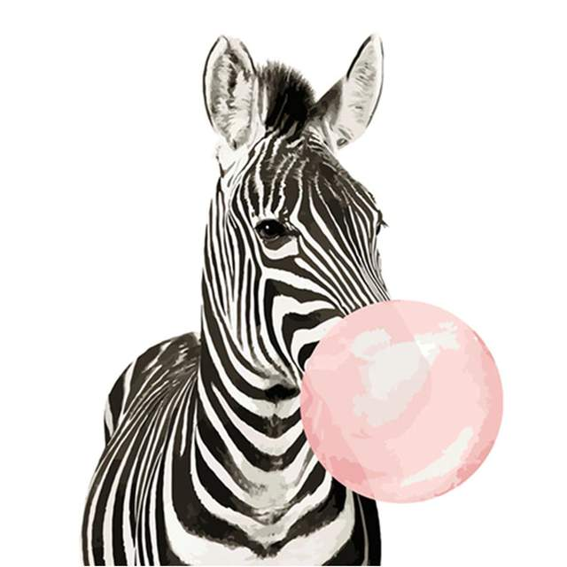 Funny Animals Zebra with Pink Gum - Easy Paint by Numbers for Kids