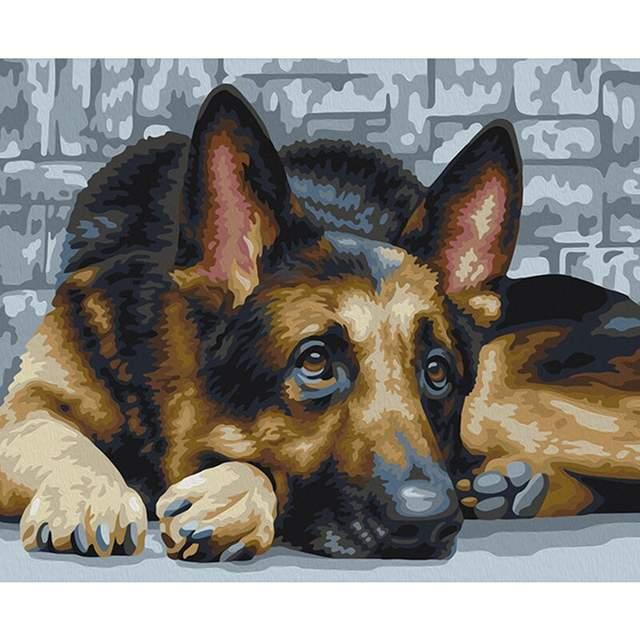 German Shepherd Dog - DIY Acrylic Painting by Numbers Kit