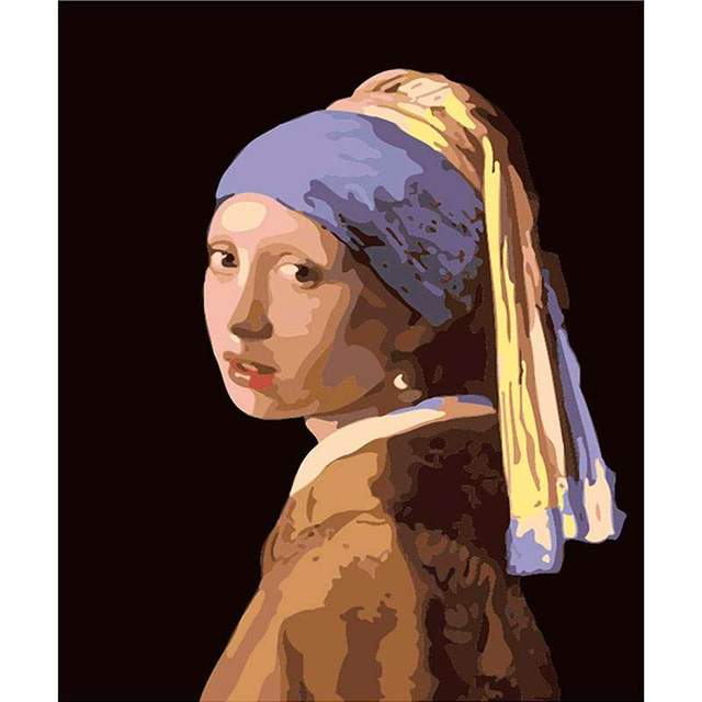 Girl with a Pearl Earring by Johannes Vermeer Paint by Numbers