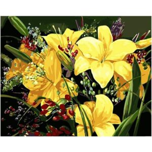 Golden lily DIY Painting By Numbers Set for Adults