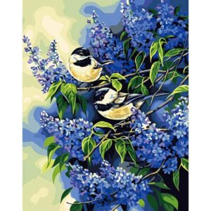 Great Tit on Blue Lilac Tree - DIY Oil Paint by Numbers Kit