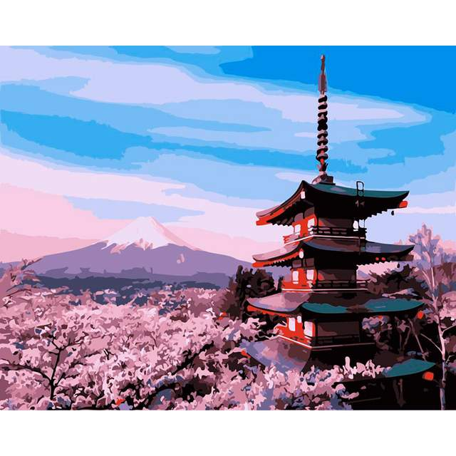 Holy Mount Fuji in Japan - Paint by Numbers Kit