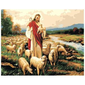 Jesus Christ with Sheep - DIY Oil Canvas by Number Kit