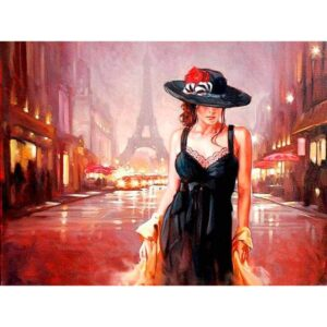 Lady in Black Hat DIY Oil Paint By Numbers Kits for Adults