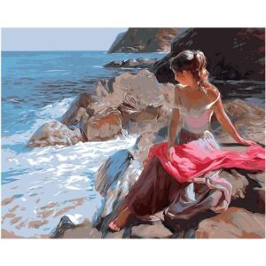 Lady on the Rocky Coast near Sea - Canvas by Numbers Set