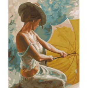Lady with Yellow Umbrella DIY Oil Drawing by Numbers Set