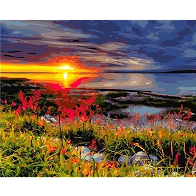 Lake at Sunset - DIY Painting on Canvas Set