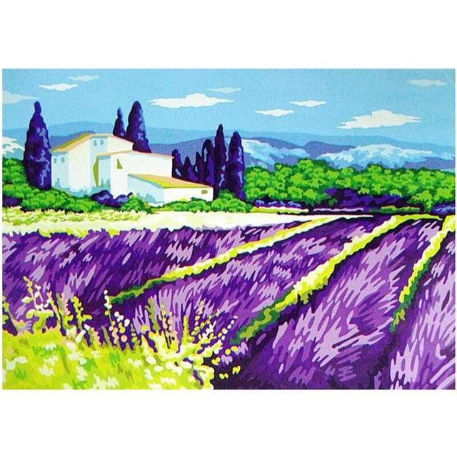 Lavender Field - Oil Coloring by Numbers Set