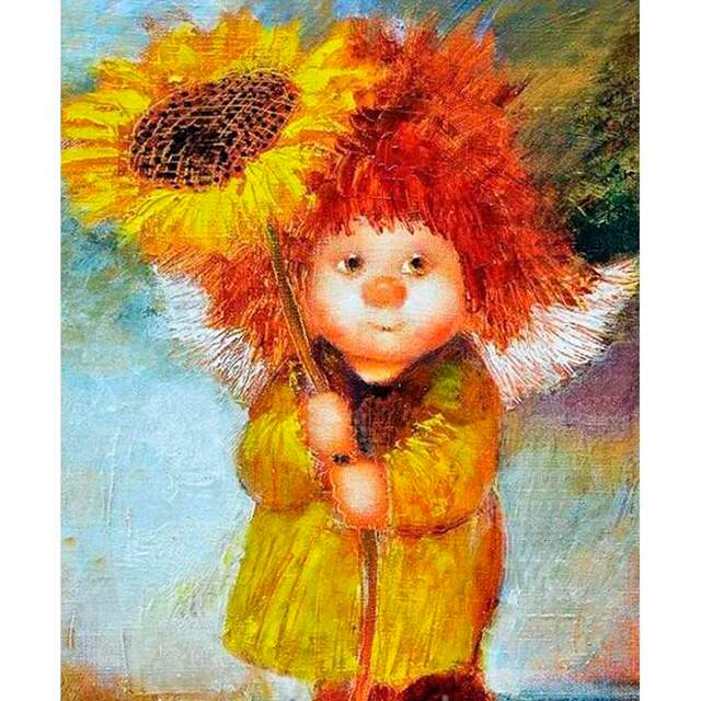Little Lady with Sunflower - Paint by Number Lady