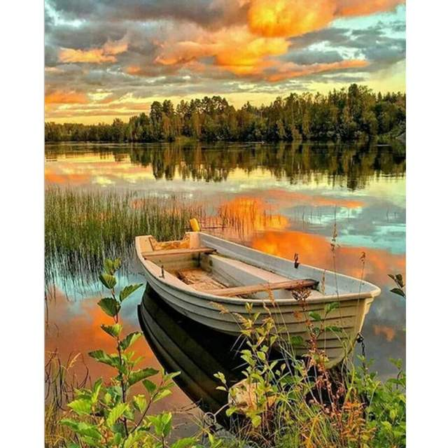 Lone Boat on Lake - Oil Painting by Numbers Kit