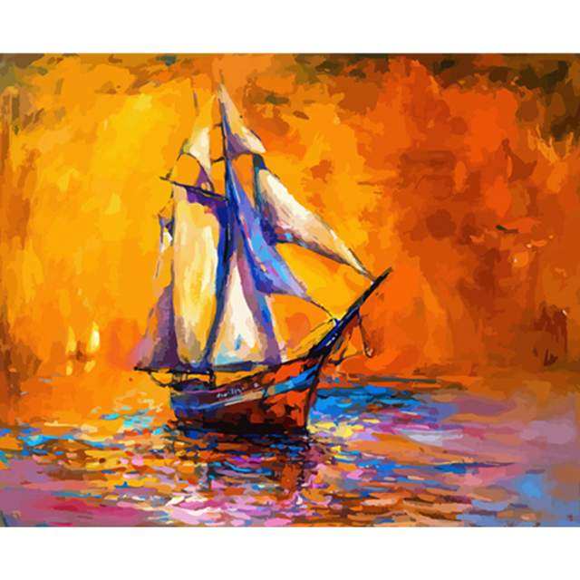 Lonely Ship at Sea - Painting by Numbers Kit