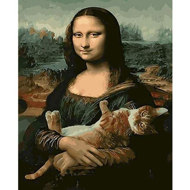 Mona Lisa with Cat - Drawing on Canvas Kits