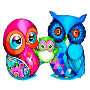 Mosaic Owl Family - DIY Easy Paint by Number Kit