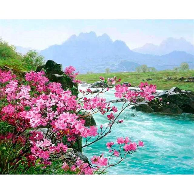Mountain River DIY Oil Paint By Numbers Kits
