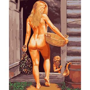 Naked Woman in a Finnish Bath - DIY Painting by Numbers for Adults