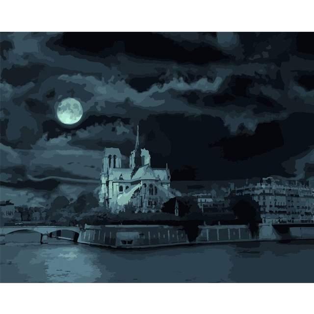 Notre-Dame de Paris at Night - DIY Paint on Canvas Kit