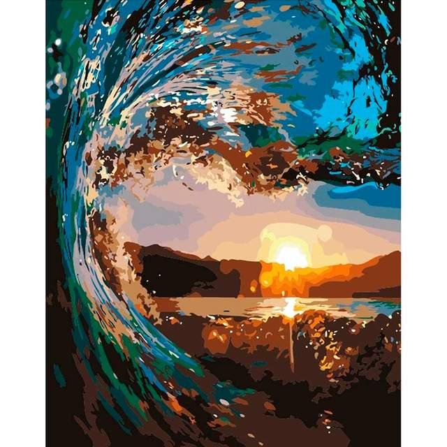 Ocean Surfing Wave DIY Painting By Number Kit