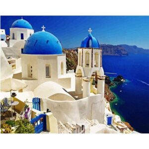 Old Town of Oia DIY Paint on Canvas Kit