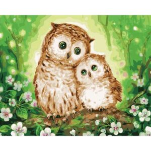 Owlets on a Branch DIY Oil Paint By Numbers Kits for Kids