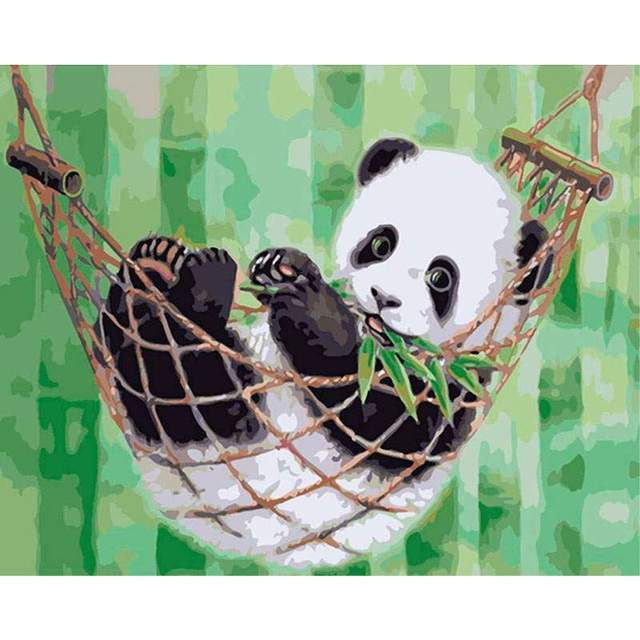 Panda in Hammock DIY Oil Coloring by Numbers Set for Children