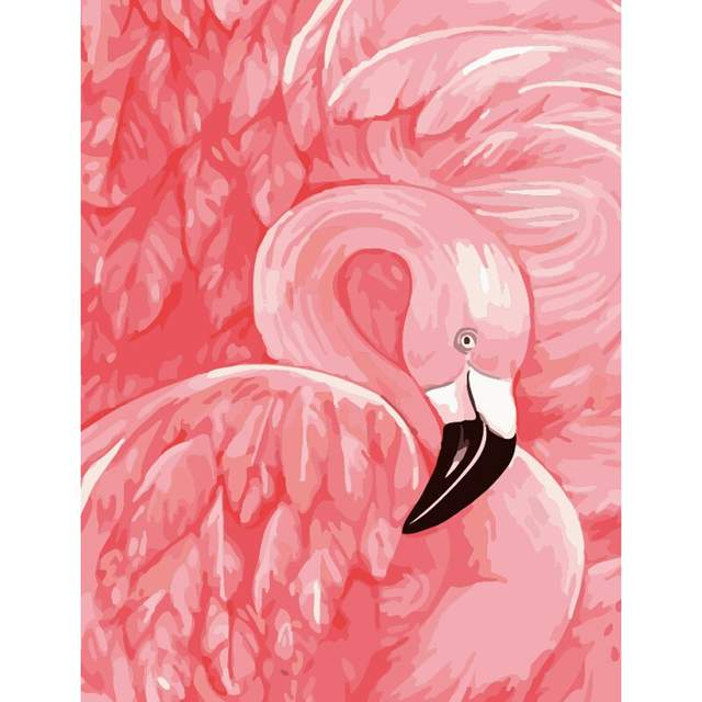 Pink Flamingo - Oil Drawing by Numbers Kit
