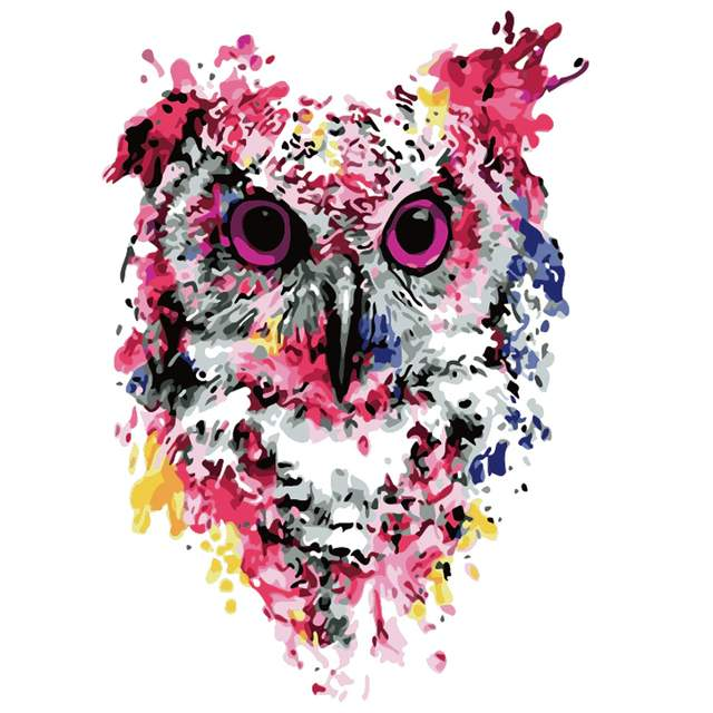 Pink Owl - Easy Paint by Numbers Kit for Beginner Kids