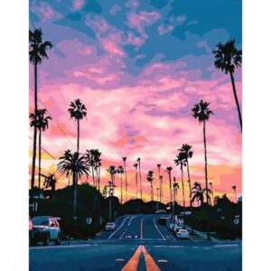 Pink Sky over Sunset Boulevard - DIY Acrylic Canvas by Numbers Kits