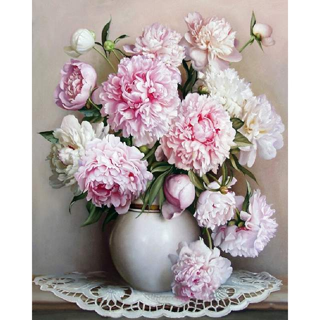Pink-White Peonies DIY Painting on Canvas Kit Adults