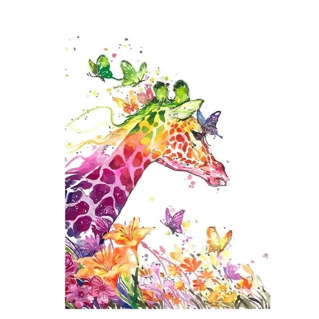 Rainbow Giraffe and Butterflies - DIY Draw by Numbers Kits