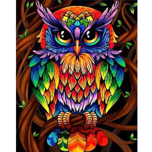 Rainbow Owl DIY Acrylic Paint By Numbers Kit