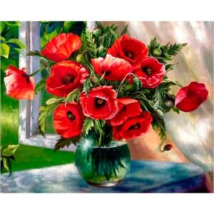 Red Poppies Bouquet in Vase DIY Paint By Numbers kit