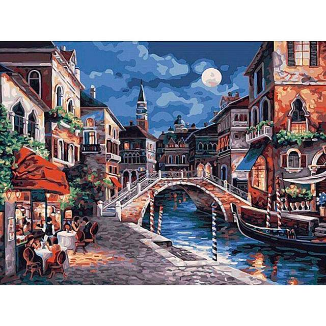 Restaurant at Canal Italy DIY Oil Paint by Number Kit