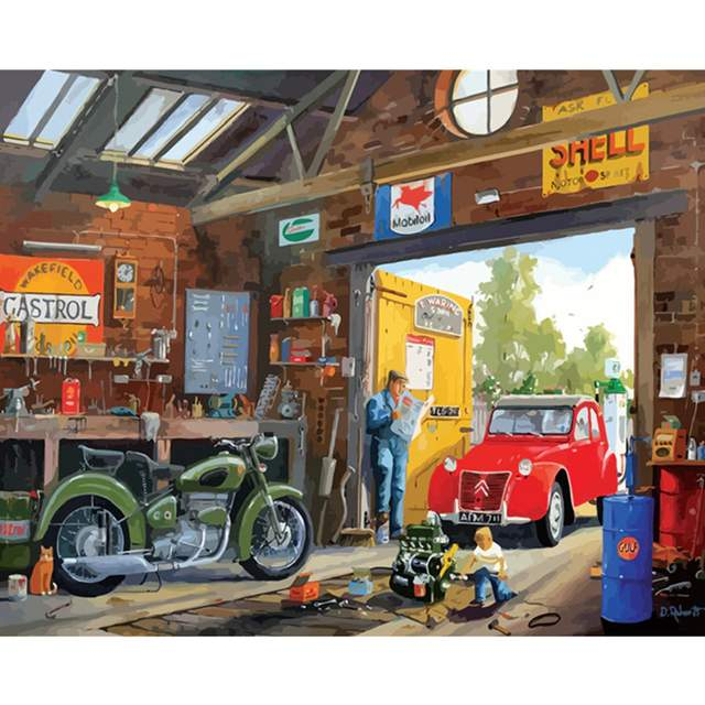 Retro Garage - Oil Painting by Numbers Kits