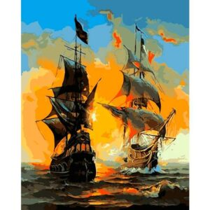 Sea Battle DIY Oil Paint By Numbers Kit for Adults