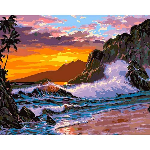 Sea Surf DIY Digital Oil Painting By Numbers Set for Adults