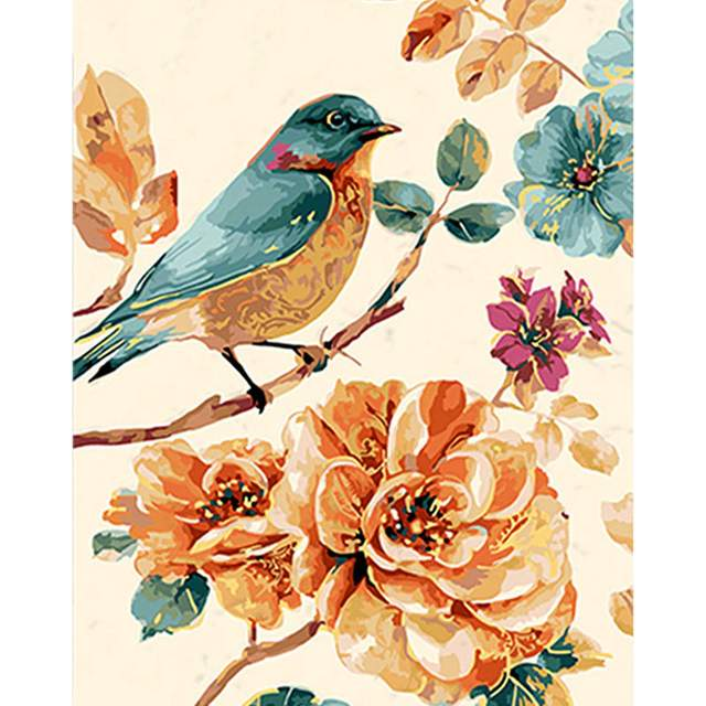Small Bird on a Tree Branch - Best Painting by Numbers Kits