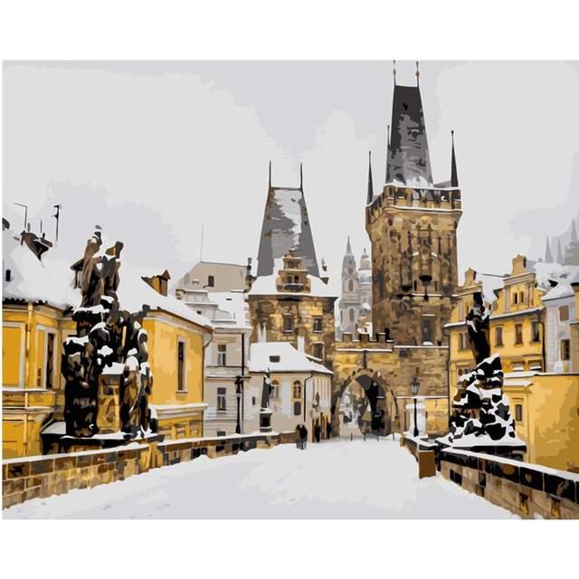 Snow Covered Charles Bridge in Prague - DIY Paint by Numbers Kit