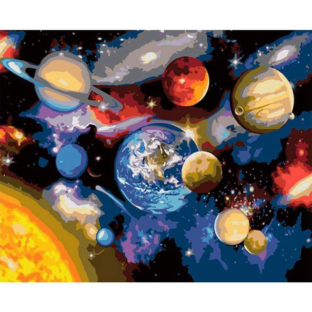 Space Planets DIY Paint By Numbers Kits Adults