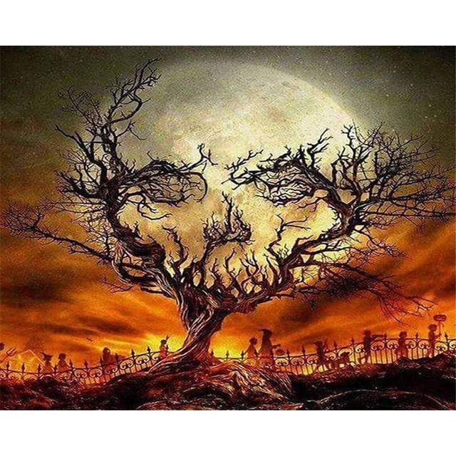 Spooky Halloween Night DIY Oil Canvas By Number Kit for Adults