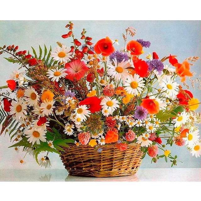 Spring Vivid Flowers in Basket - DIY Paint by Numbers Kit
