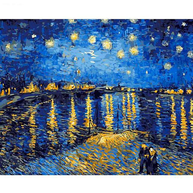 Starry Night Over the Rhone DIY Oil Paint By Numbers Kits for Adults